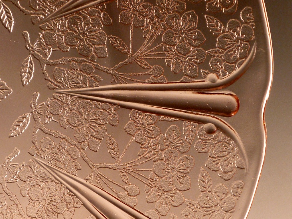 Cherry Blossom Pink Depression Glass Plate Rim Detail