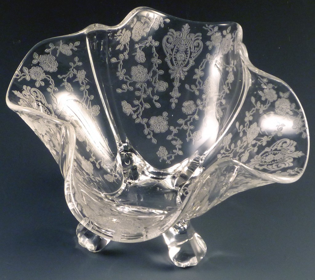 Cambidge Glass Rose Point Etched 3400 Bon Bon Small Square Bowl