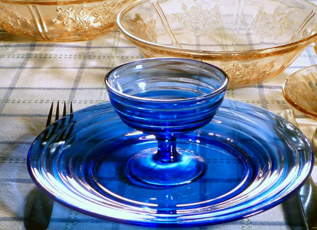 Moderntone Cobalt Blue Depression Glass with Sharon Pink