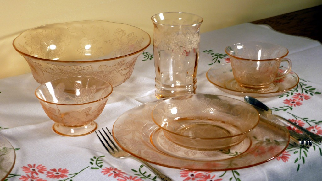 Dogwood Pink Depression Glass Table