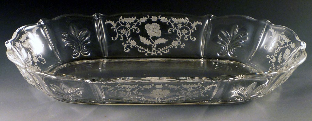 Fostoria Shirley Etched Crystal Celery Dish