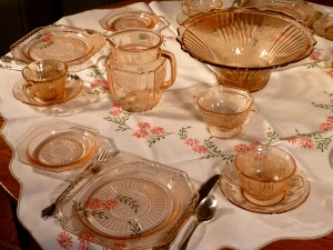 Mayfair Open Rose and Sharon Pink Depression Glass Table