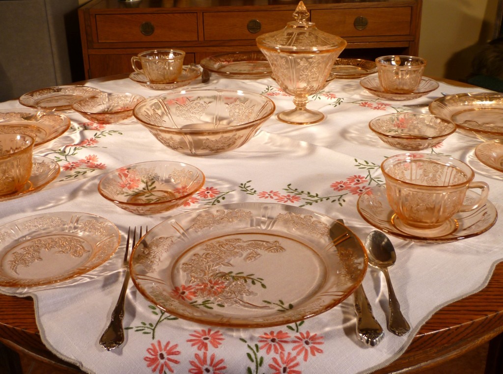 Sharon Pink Depression Glass on Mom's Table Cloth