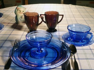 Blue and Amethyst Depression Glass Tablescape Thursday