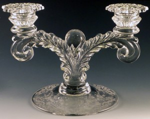 Cambridge Diane – Etched Corinth Candle Holder,  Unusual Piece in the 3900 Line