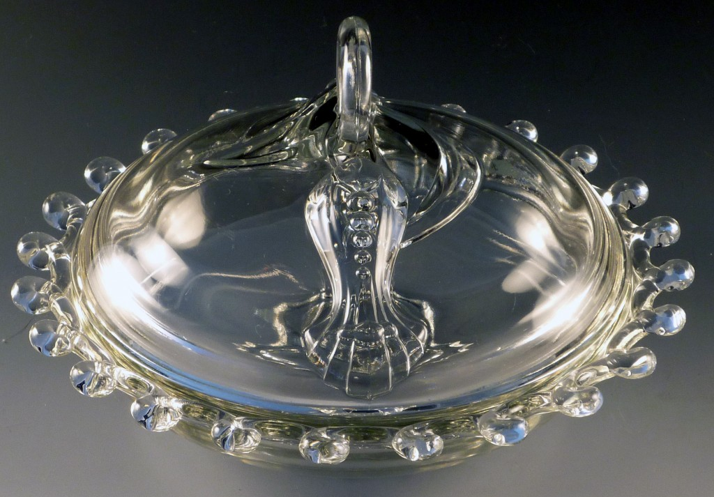 Heisey Glass Lariat Crystal Covered Caramel Box