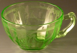 Cameo Green Cup Curlicue Handle Depression Glass Hocking