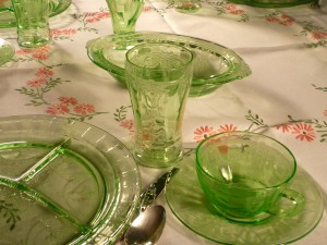 Cameo Green Depression Glass Tablescape