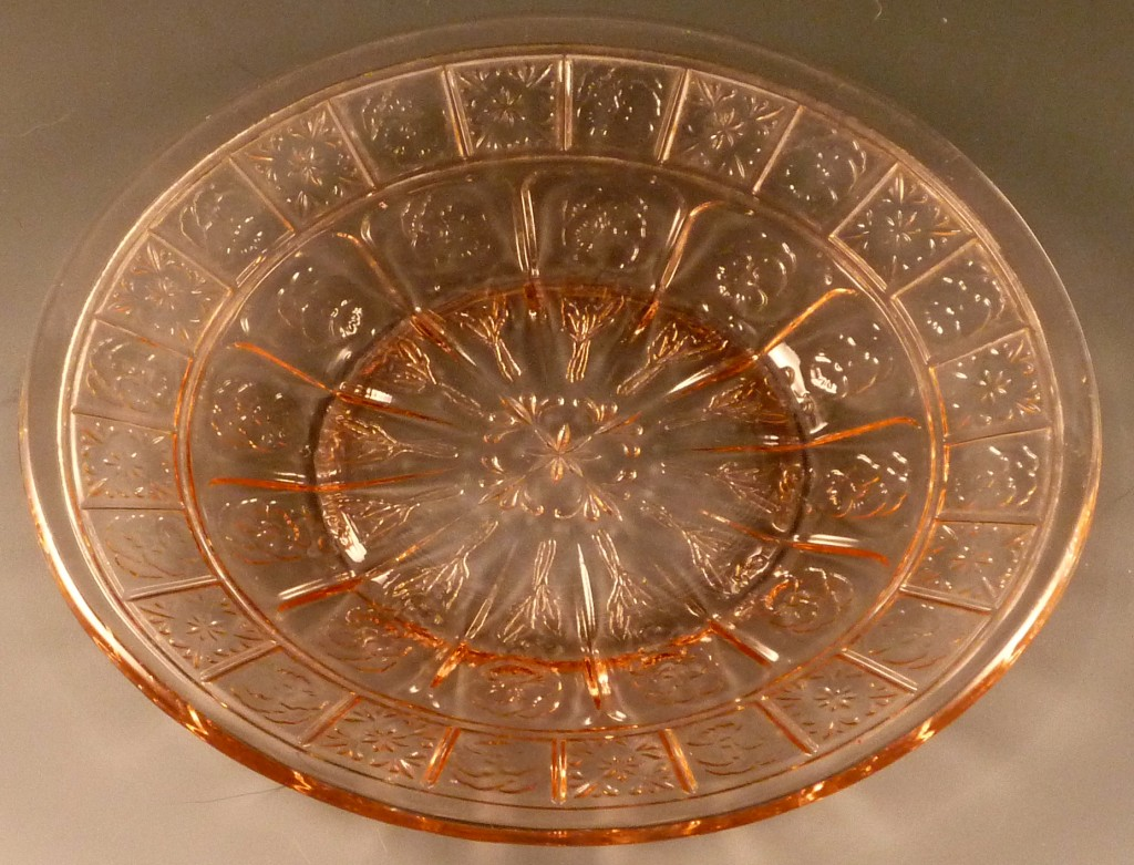 Doric & Pansy Pink Depression Glass Plate from Jeannette