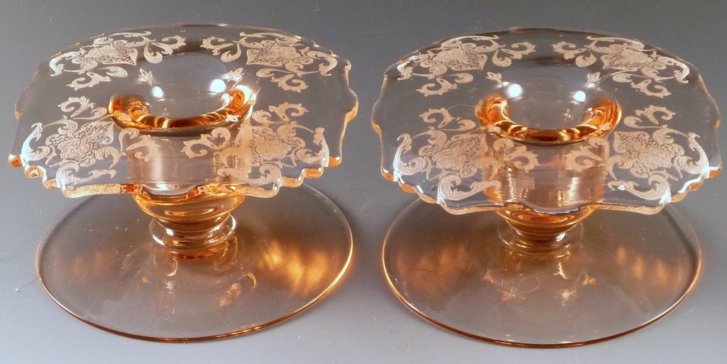 New Martinsville Etched #36 Pink Elegant Depression Glass Square Candle Holders