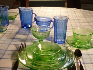 Georgian Green with Blue Depression Glass Table