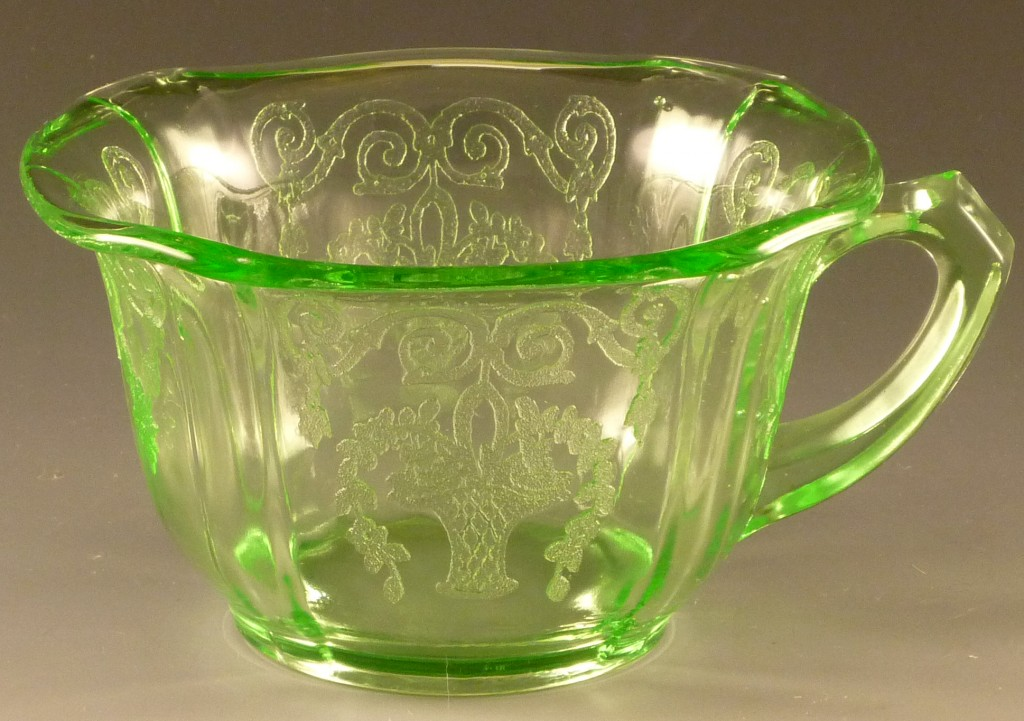 Lorain Green Depression Glass Cup from Indiana