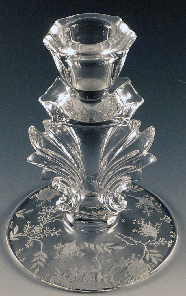 Fostoria Chintz Etched Crystal Tall Baroque Single Candle Holder