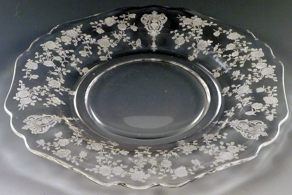 Cambridge Rose Point Etched Crystal Line 3400 Plate