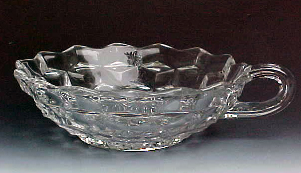 Fostoria American Crystal Flared Handled Nappy