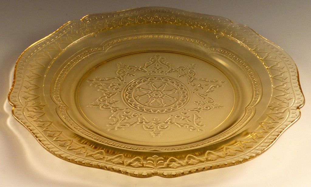 Patrician Spoke Amber Depression Glass Lunch Plate