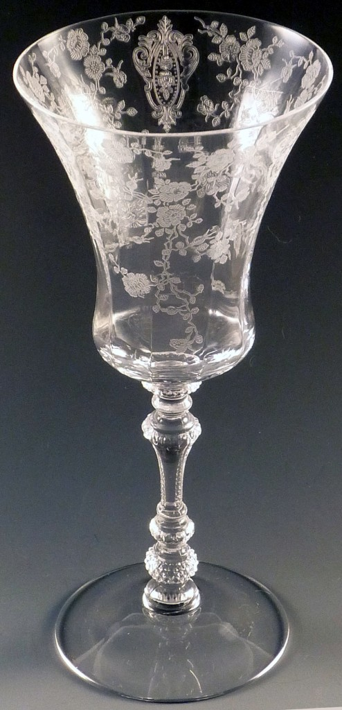 Rose Point 3500 Water Goblet Cambridge Glass Etched Stemware