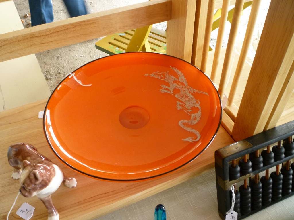 Orange Glass Bowl with Silver Dragon at Ann Arbor Antiques Fair