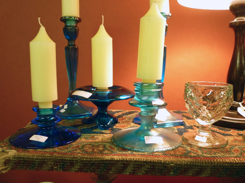 Blue Candle Holders and Stretch Glass Ann Arbor Antiques Fair