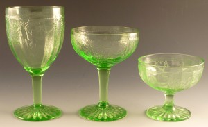 Cameo Green Depression Glass Stemware for Comparison – Goblet and Two Sherbets
