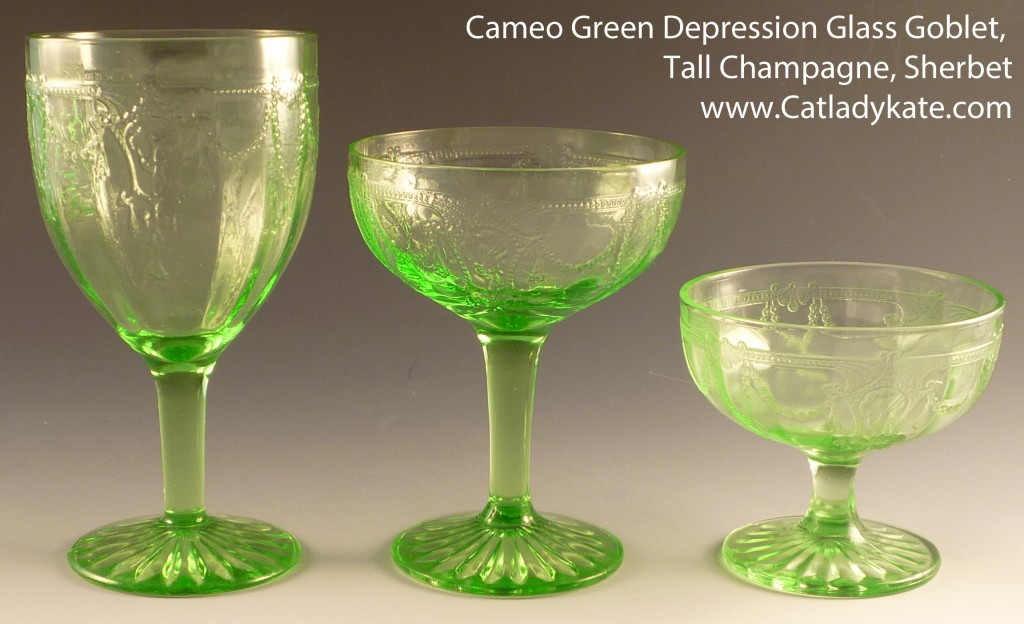 Cameo Green Depression Glass Goblet Tall Champagne Sherbet Low Sherbet for Comparison