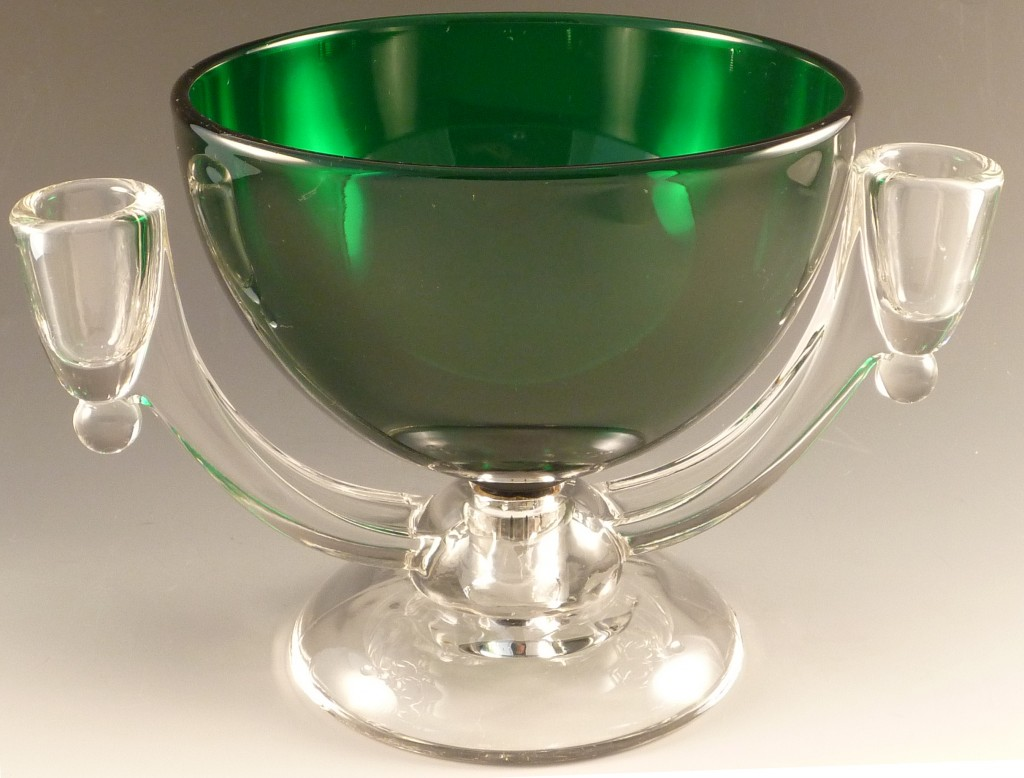 Viking Green and Crystal Peg Base Bowl Candleholder