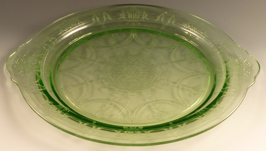 Cameo Green Depression Glass Tab Handled Dinner Plate