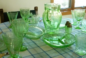 Ballerina in Green – Cameo Green Depression Glass Tablescape