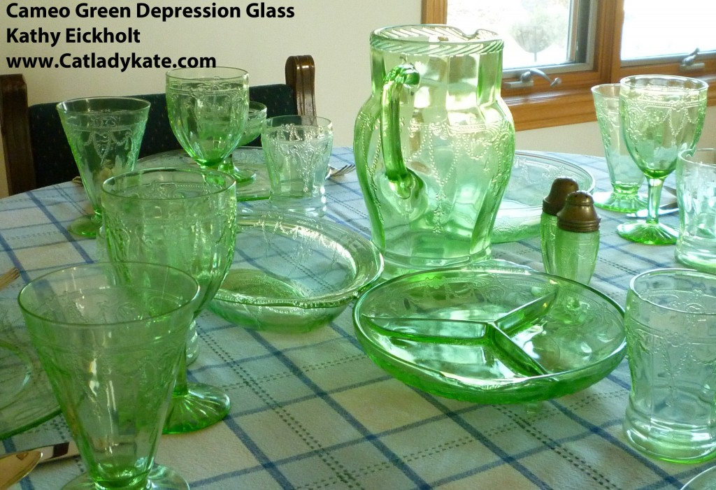 Cameo Green Depression Glass Tablescape with Dinner Plates, Tumblers, Goblet and Sherbets