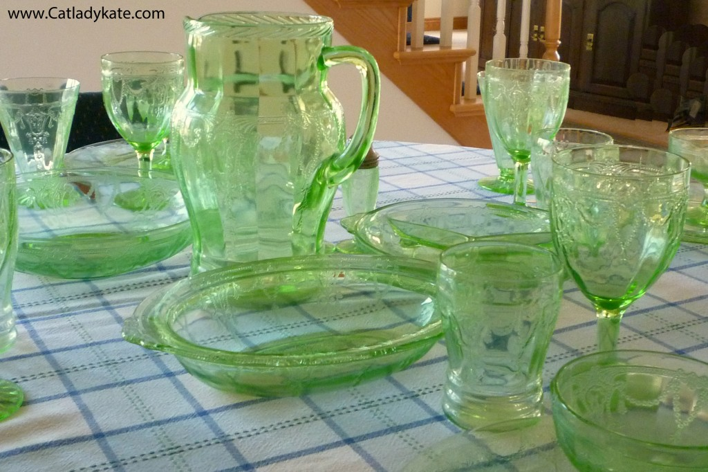 Cameo Green Depression Glass Tablescape with Pitcher and Oval Bowl