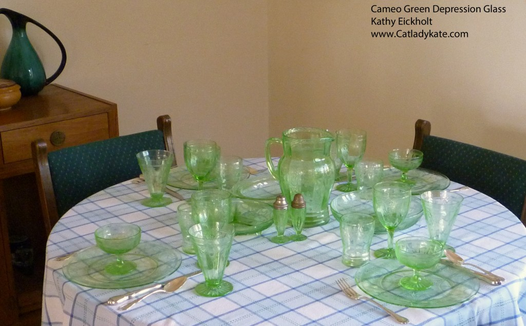Cameo Green Depression Glass Table