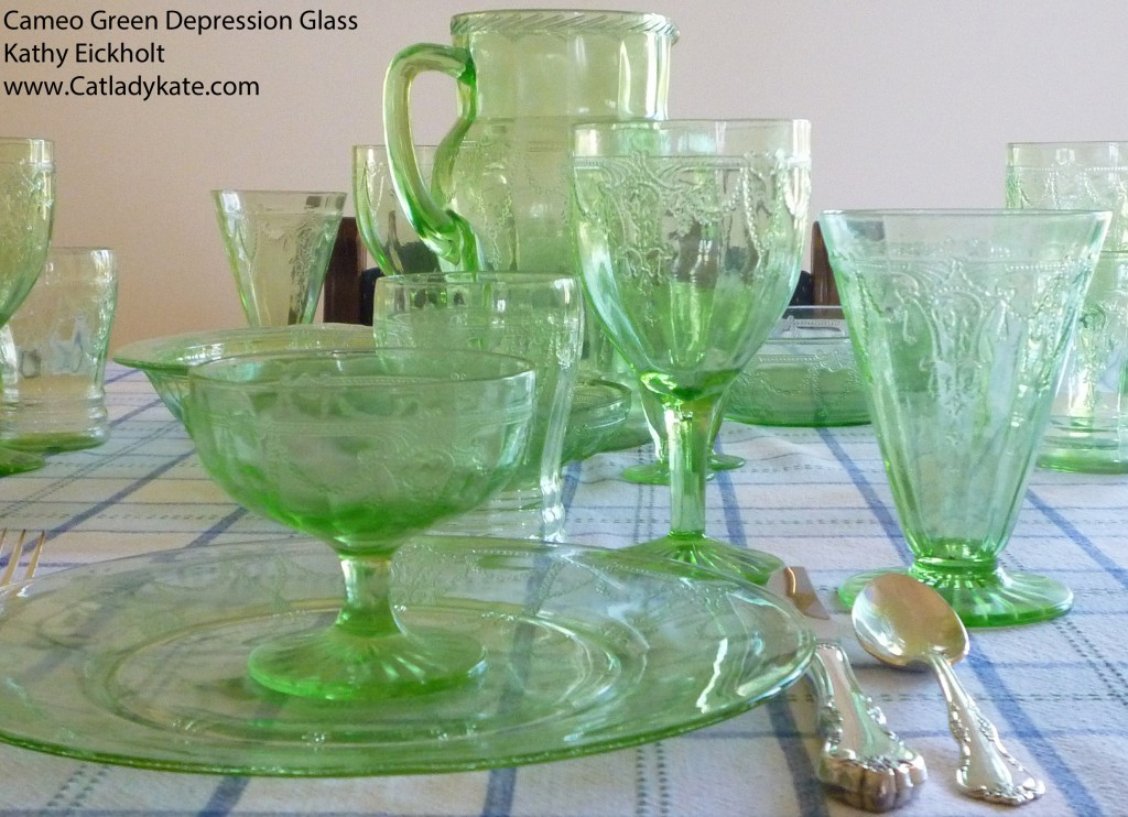 Cameo Green Depression Glass Tablescape with Dinner Plate and Sherbet
