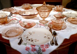 Sharon Pink Depression Glass with Honeysuckle Plates