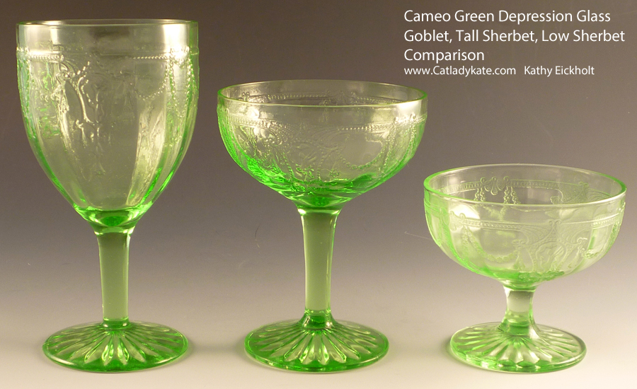 Cameo Depression Glass Stemware