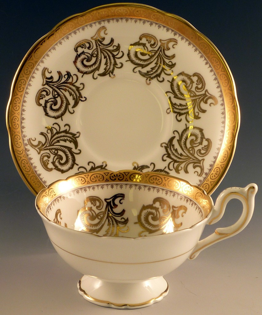 Foley English Bone China Cup and Saucer with Heavy Gold Trim