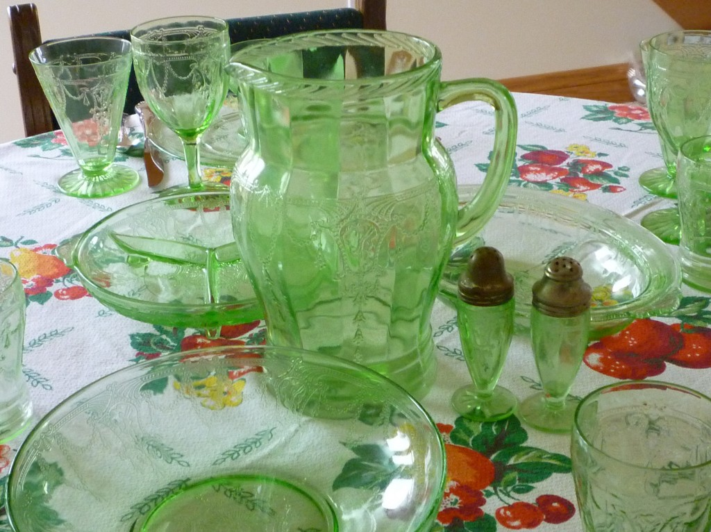 Cameo Ballerina Green Depression Glass Pitcher