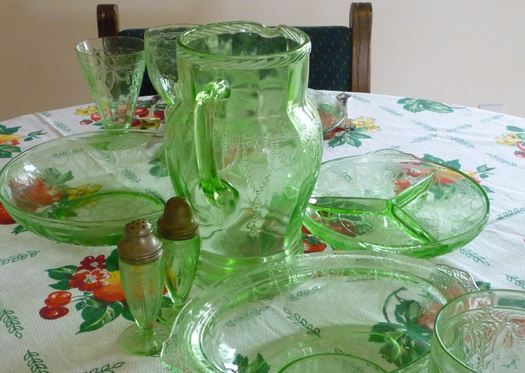 Cameo Green Depression Glass Bowls and Relish