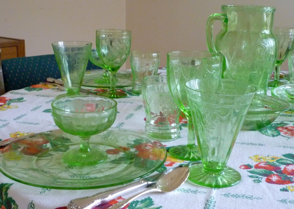 Cameo Green Depression Glass Plethora of Stems and Tumblers