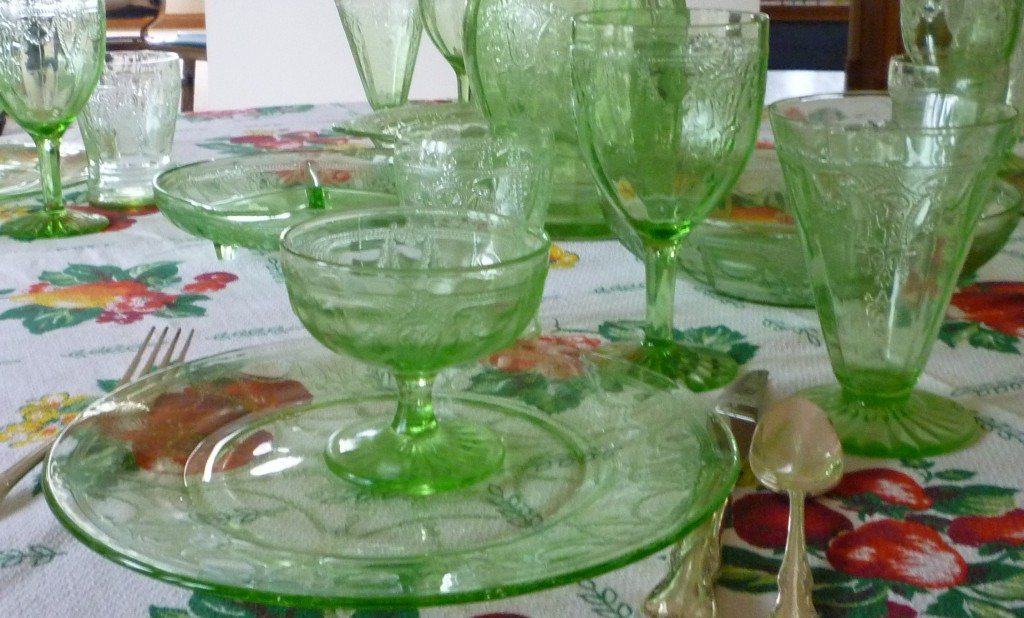 Cameo Dancing Girl Single Place Setting Green Depression Glass