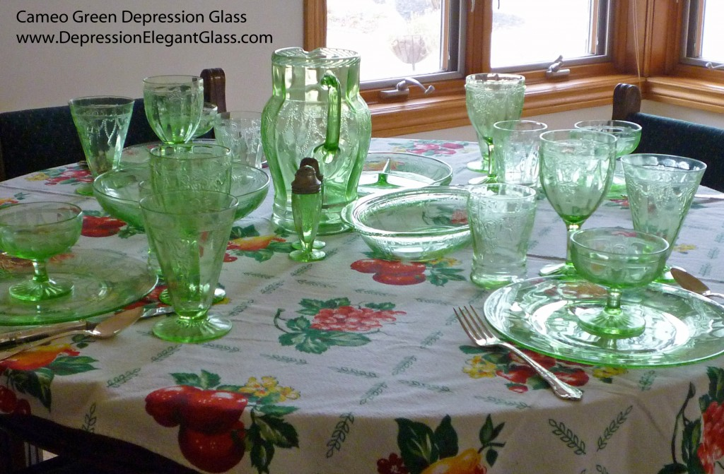 Cameo Ballerina Green Depression Glass Table on Cheerful Vintage Cloth