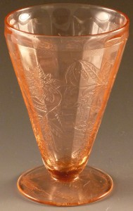 Pure Vintage!  Floral Depression Glass Cone Shaped Footed Tumblers