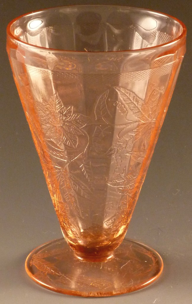 Floral Poinsettia Pink Depression Glass Footed Tumbler