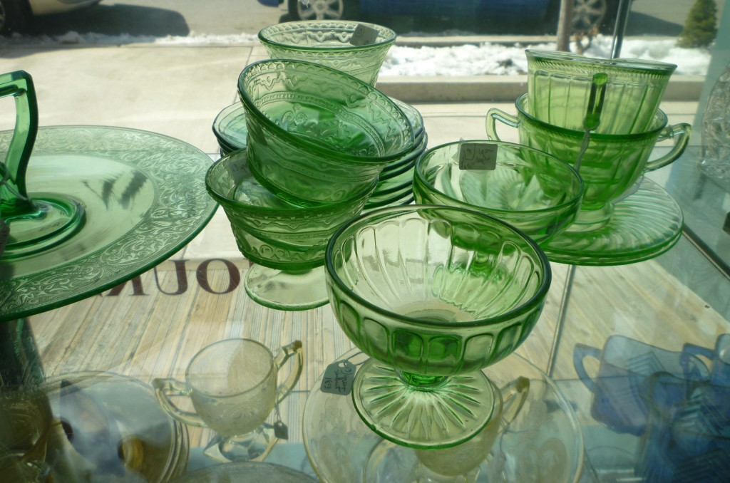 Green Patrician, Ribbon & Colonial Fluted Green Depession Glass in Window