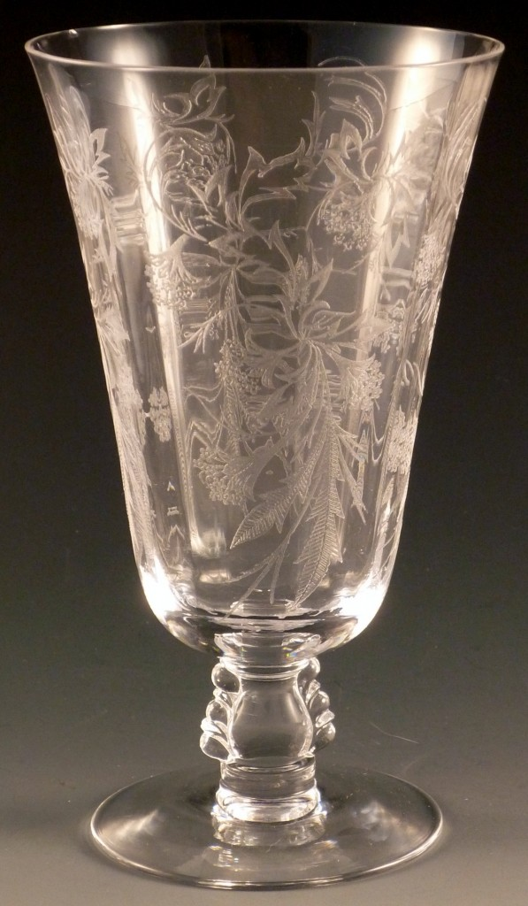 Fostoria Heather Etched Ice Tea Footed Tumbler Crystal