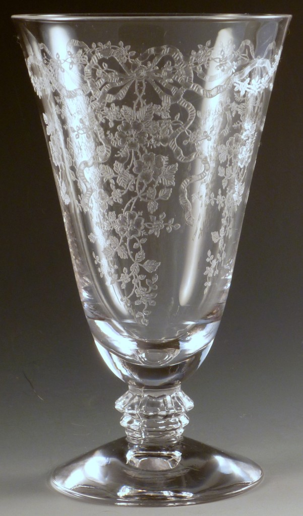 Fostoria Romance Etched Crystal Footed Iced Tea Tumbler