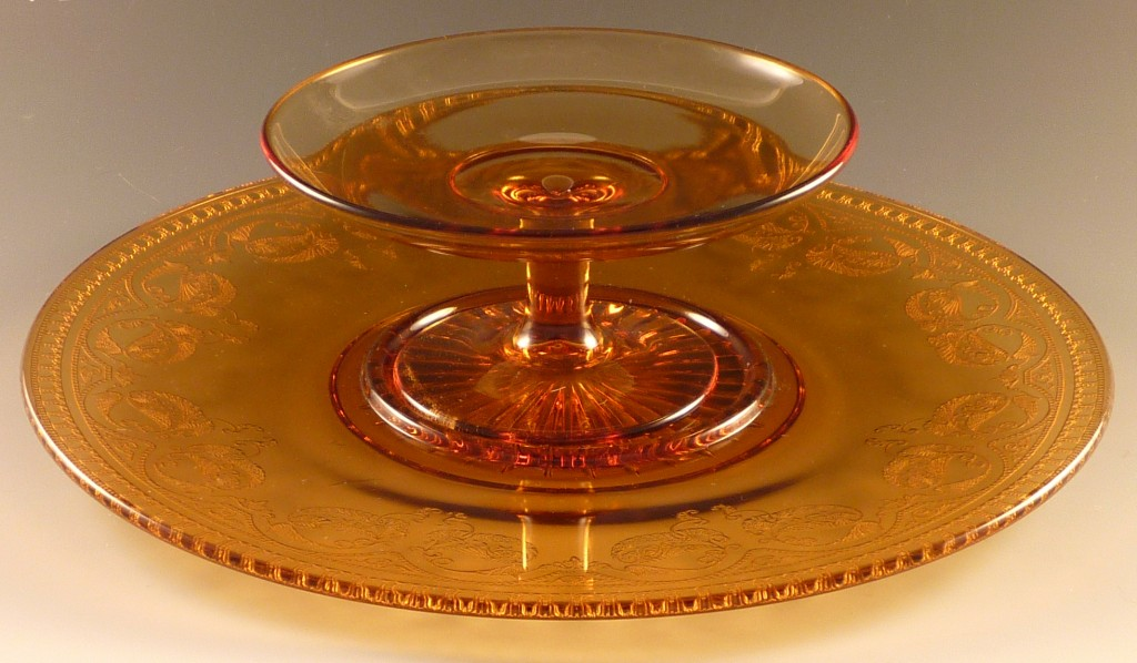 Cambridge Glass Windows Border Etched Amber Cheese and Cracker Set