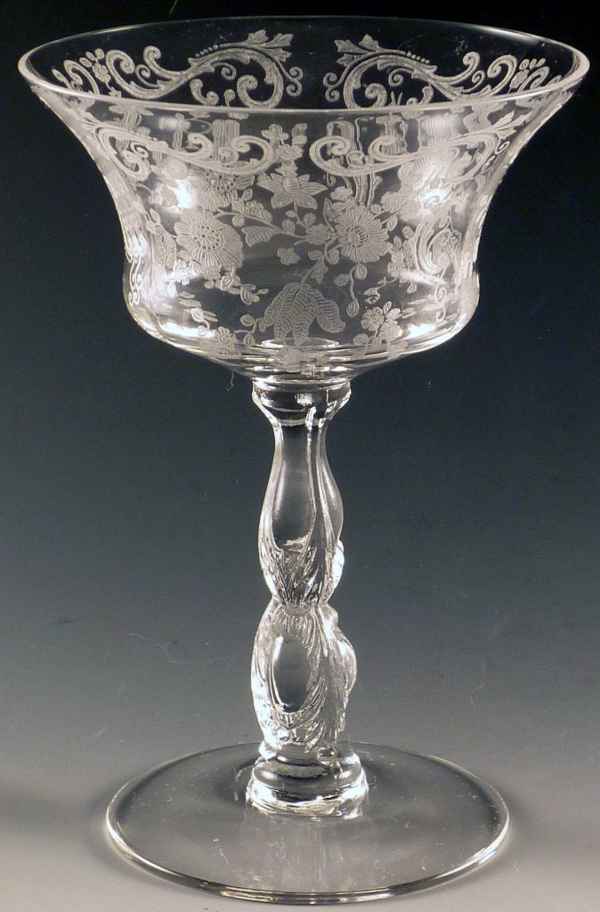 Cambridge Chantilly Tall Sherbet Etched Vintage Crystal Stemware