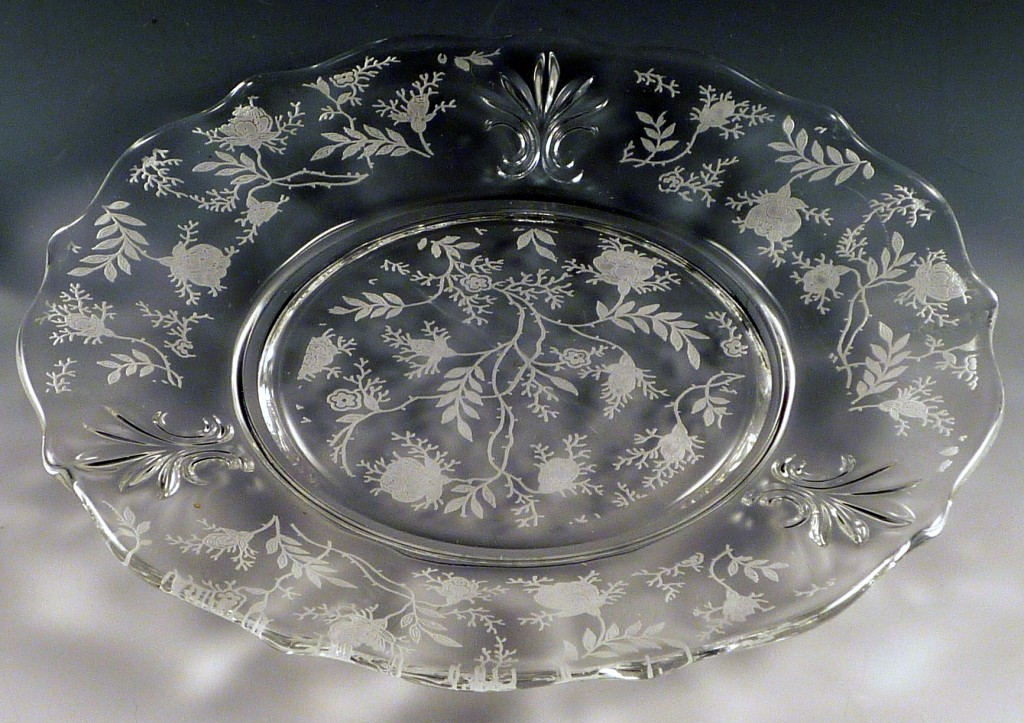 Fostoria Chintz Etched Crystal Bread and Butter Plate
