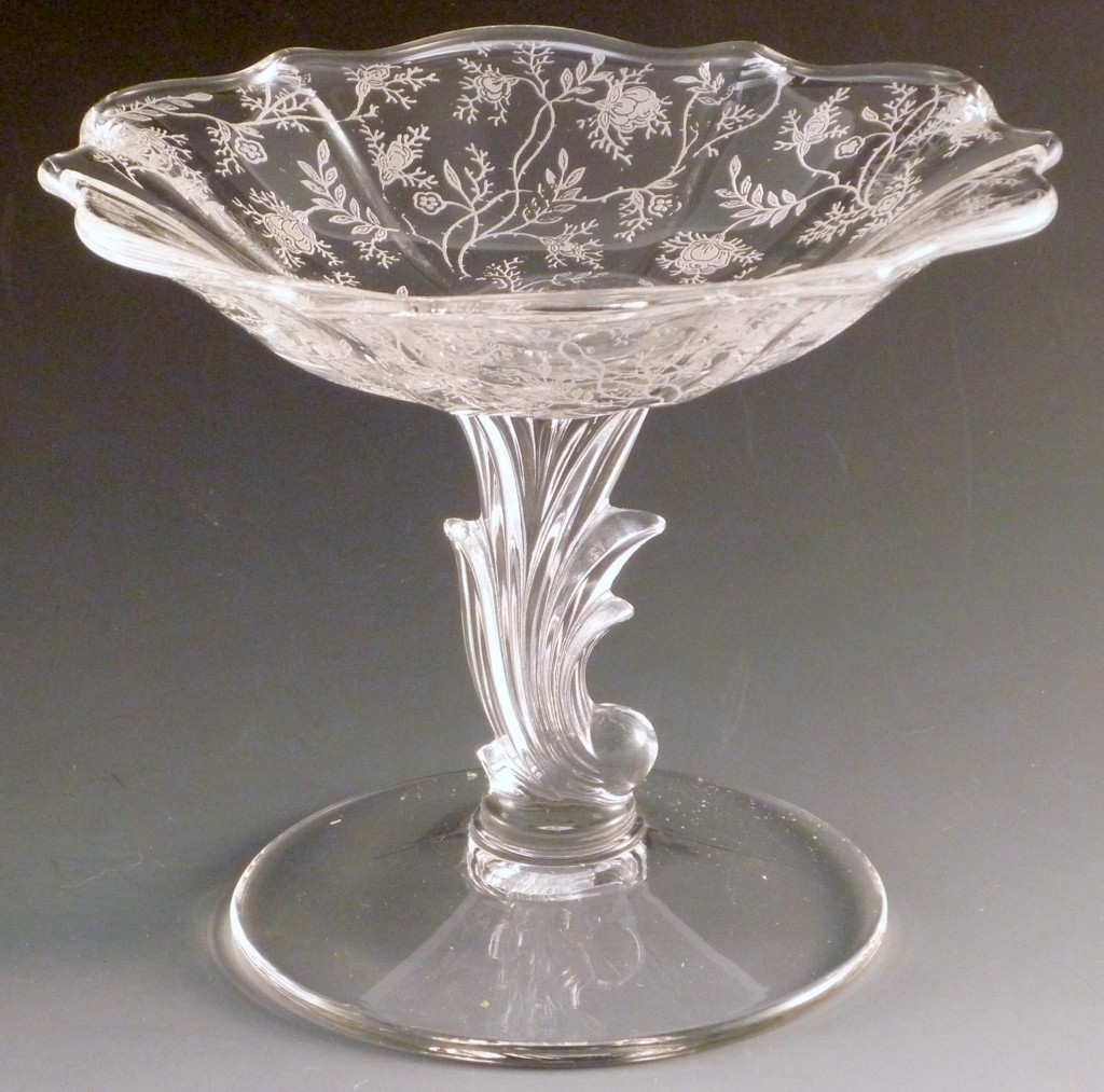 Fostoria Chintz Etched Crystal Baroque Compote Glass Comport