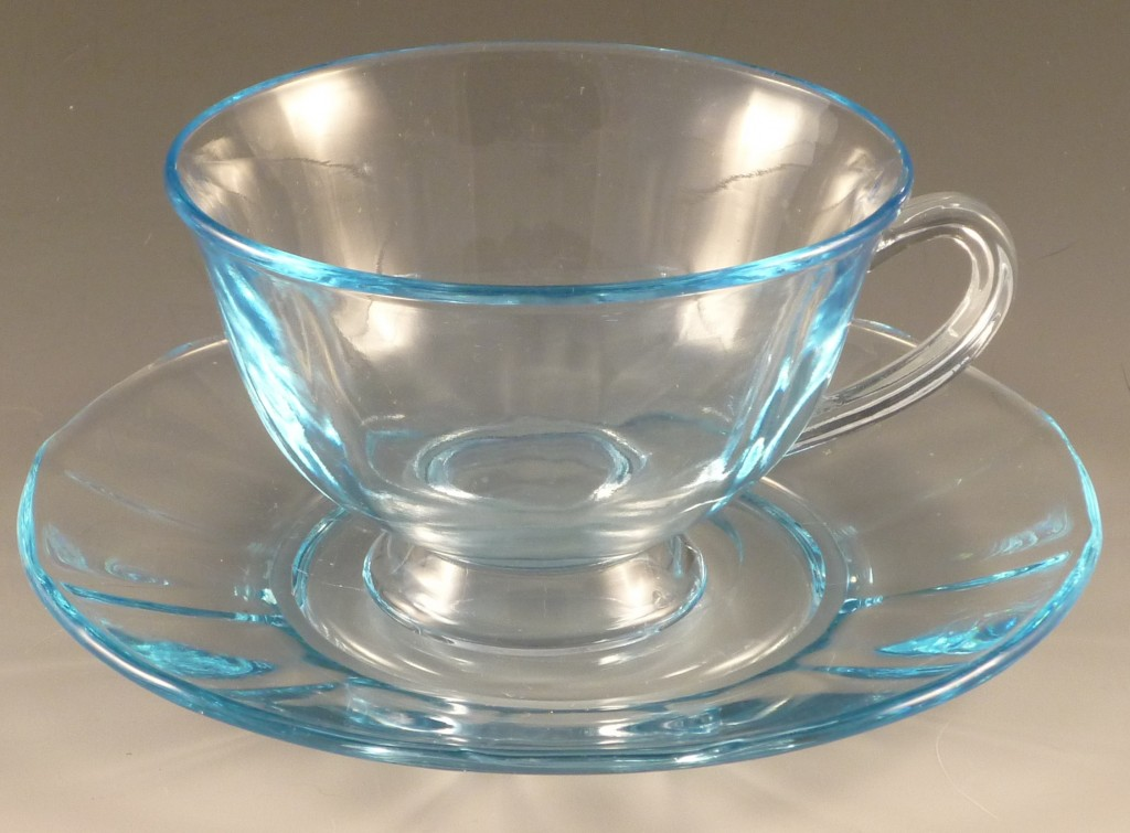 Fostoria Glass Fairfax Blue Cup and Saucer